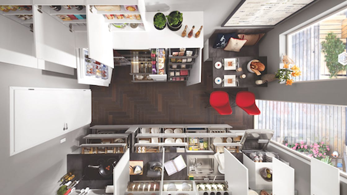 View from above into the kitchen with open cupboards